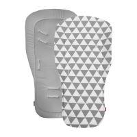 Aesthetic Podložka do kočárku oboustranná - Triangel plátno / šedá střední bavlna