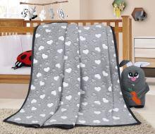 VERATEX Dětská deka - 100x150 cm tlapičky a srdíčka šedá