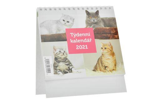 Týdenní kalendář 2021 (16x14cm) - Kočky - 8594170074494
