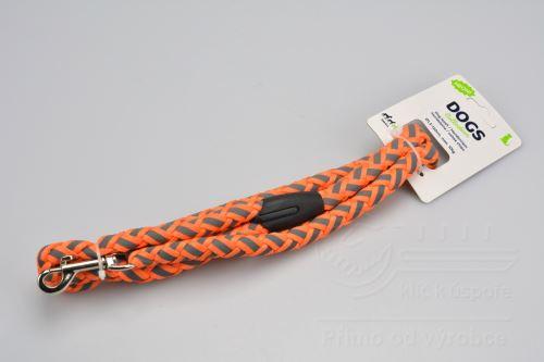 Reflexní vodítko pro psy 1,5x120cm max 10kg - Neonově oranžové - 8719202003963