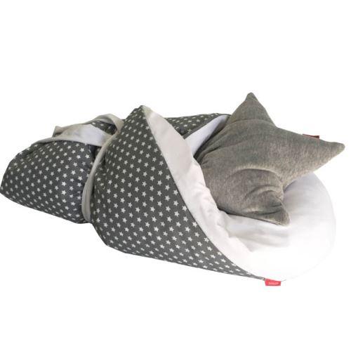 Aesthetic Rychlo-zavinovačka péřová -  100% bavlněné plátno - Hvězdička bílá / šedá 75x75cm