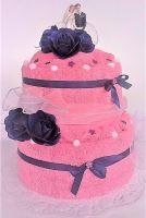 VERATEX Veratex Textilní dort dvoupatrový růžovo-fialový