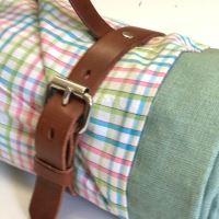 Aesthetic Pikniková deka lněná - len mentolová/ směsové plátno multicolor kostka 140x200 cm