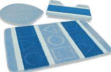 VERATEX Koupelnová předložka LUX 3-dílný set modré čtverce