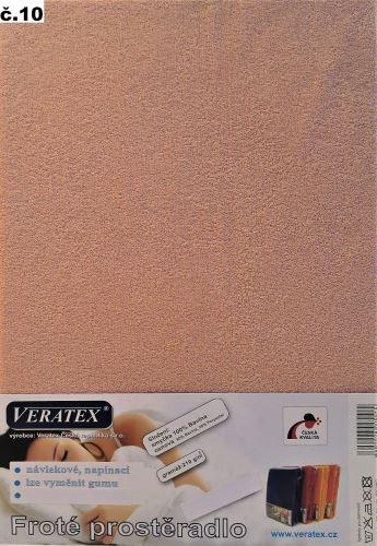 VERATEX Froté prostěradlo jednolůžko 90x200/16cm (č.10-starorůžová)