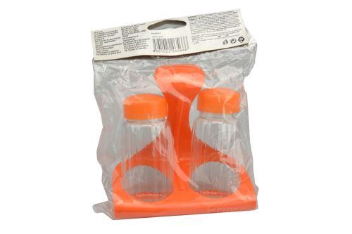 Plastová slánka s pepřenkou BANQUET Cruet - Oranžová (11x11cm) - 8591022265666