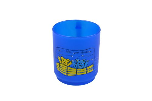 Plastový hrníček TVAR 2,5dl - Modrý s medvídkama - 8590394053000