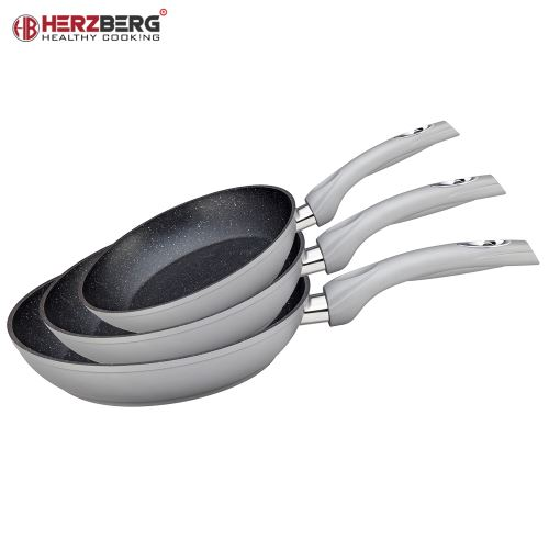 Herzberg HG-FP3: 3-dílná sada pánví 20/24/28 20/24/28 stříbrná