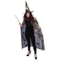 Čarodějnický plášť s kloboukem a pavučinou pro dospělé/Halloween (8590687217003)