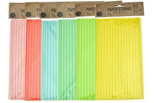 Papírová brčka 24cm - Set 32ks, mix barev - 8719987460067