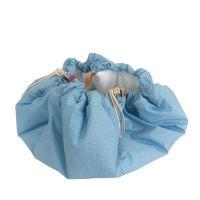 Aesthetic Hnízdo pro miminka 3v1, stahovací vak na hračky, Hrací kruhová podložka  plátno/plátno (puntík modrá/bílá)