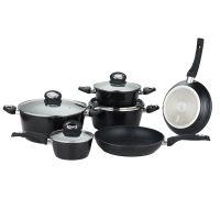 Herzberg HG-8079: 10 kusů sada nádobí černá