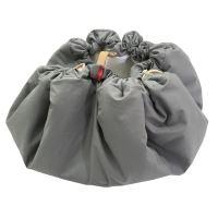 Aesthetic Hnízdo pro miminka 3v1, stahovací vak na hračky, Hrací kruhová podložka  plátno/plátno (šedá/bílá)