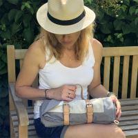 Aesthetic Exkluzivní pikniková deka lněná STONE - šedá střední /len přírodní 140x200 cm Typ varianty: Bez popruhu