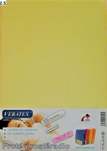 VERATEX Froté prostěradlo postýlka 60x120 cm (č. 5-sv.žlutá)