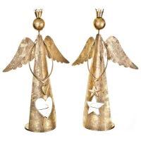 Anděl s korunkou a hvězdou, svícen zlatý, 31x20x9
