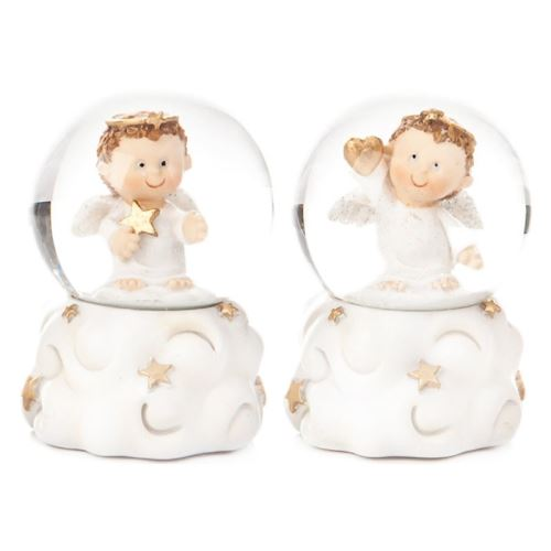 Sněžítko s chlapečkem bílé, 4 dr., 5x5x6 cm, polyr
