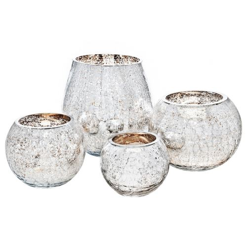 Svícen praskaný stříbrno zlatý, 17x17x17 cm, sklo