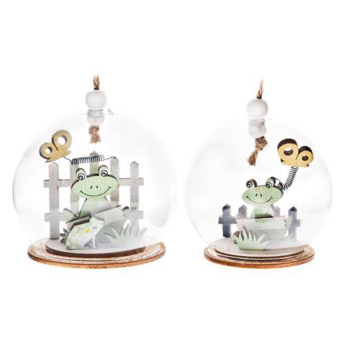 Žabka s žabkou v baňce, 8x8x20 cm, dřevo, sklo