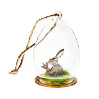 Zajíček ve skle barevný, 5x5x8 cm, sklo